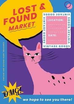 Bearbeitbarer plakatvorlagenvektor für verloren und gefunden mit niedlicher tierillustration