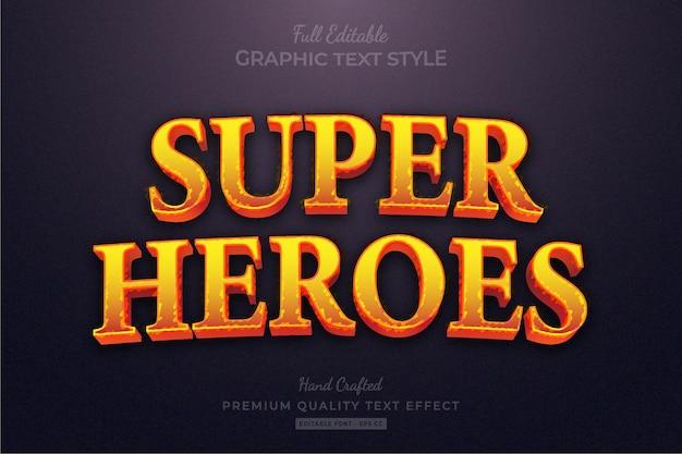 Bearbeitbarer premium-texteffekt für heroes-spieltitel Premium Vektoren