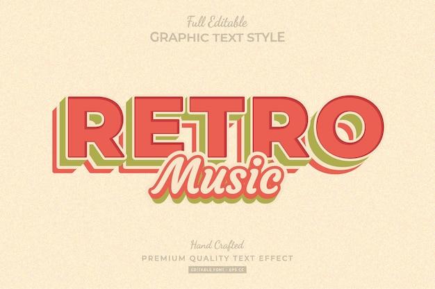 Bearbeitbarer premium-texteffekt für retro-musik