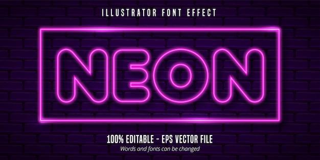 Bearbeitbarer schrifteffekt im neonlicht-beschilderungsstil
