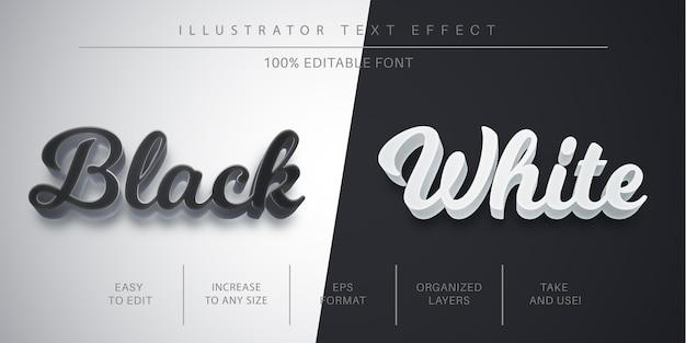 Bearbeitbarer schwarzweiß-texteffekt, schriftstil