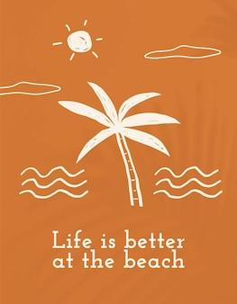 Bearbeitbarer sommer-doodle-vorlagenvektor mit zitat-social-media-banner