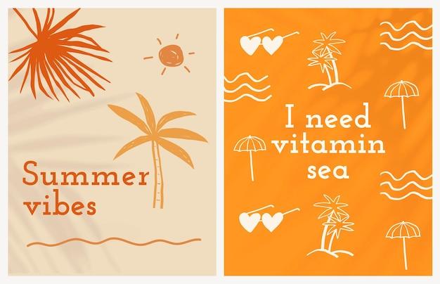 Bearbeitbarer sommer-flyer-vorlagen-vektor mit süßem doodle-set