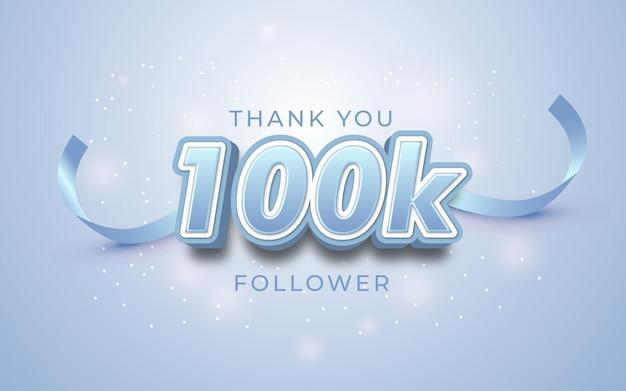 Bearbeitbarer text 100.000 follower mit zahlen im 3d-stil