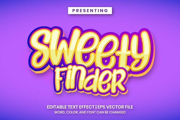 Bearbeitbarer text im sweety finder-cartoon-comic-logo-stil
