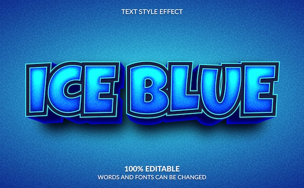 Bearbeitbarer texteffekt, 3d ice blue text style