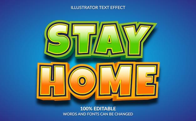Bearbeitbarer texteffekt, 3d modern stay home text style