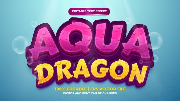 Bearbeitbarer texteffekt - 3d-vorlage im aqua-drachen-stil auf tiefseehintergrund Premium Vektoren