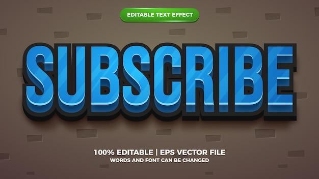 Bearbeitbarer texteffekt - 3d-vorlage im cartoon-stil abonnieren