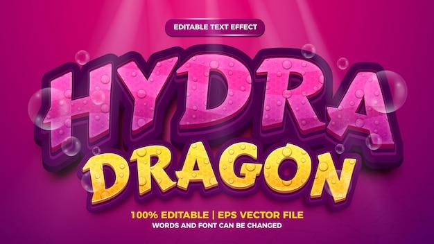 Bearbeitbarer texteffekt - 3d-vorlage im hydra-drachen-stil auf tiefseehintergrund