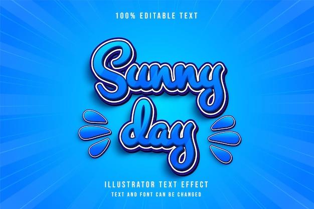 Bearbeitbarer texteffekt an sonnigen tagen mit blauer abstufung