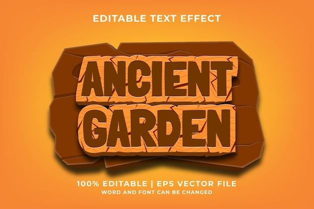 Bearbeitbarer texteffekt - antiker garten 3d-vorlagenstil premium-vektor