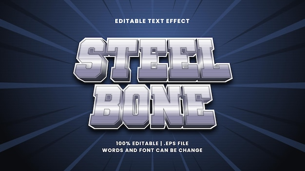 Bearbeitbarer texteffekt aus stahlknochen im modernen 3d-stil