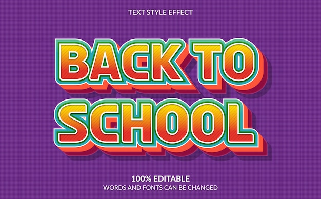 Bearbeitbarer texteffekt, back to school-textstil