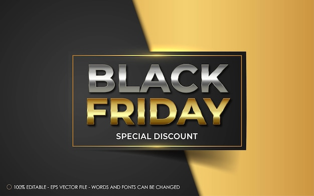 Bearbeitbarer texteffekt, black friday special discount style illustrationen
