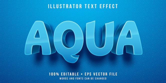 Bearbeitbarer texteffekt - blauer aquafarbstil