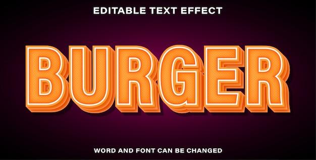 Bearbeitbarer texteffekt-burger