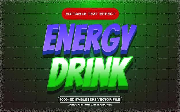 Bearbeitbarer texteffekt-cartoon- und spielstil des energy drinks