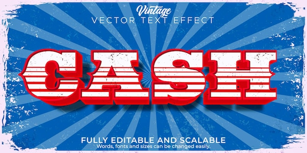 Bearbeitbarer texteffekt, cash american vintage retro-textstil