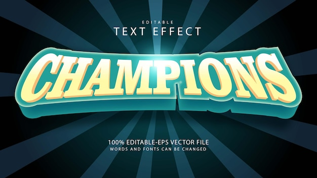 Bearbeitbarer texteffekt champions