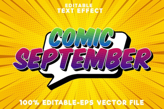 Bearbeitbarer texteffekt-comic-september mit neuem september-comic-stil