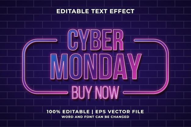 Bearbeitbarer texteffekt - cyber monday neon-stil vorlage premium-vektor