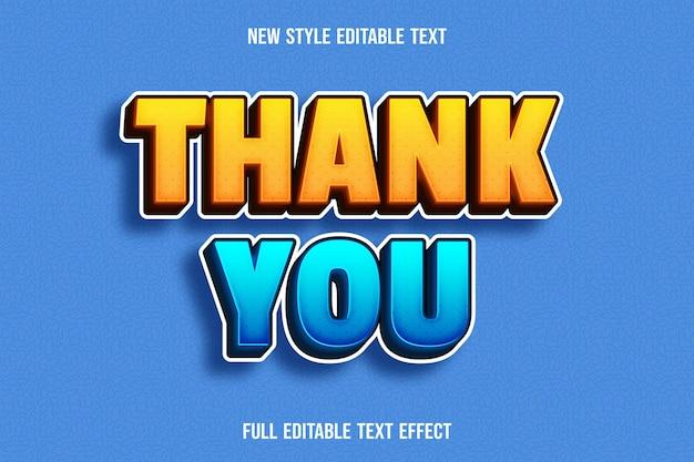 Bearbeitbarer texteffekt danke farbe gelb und blau