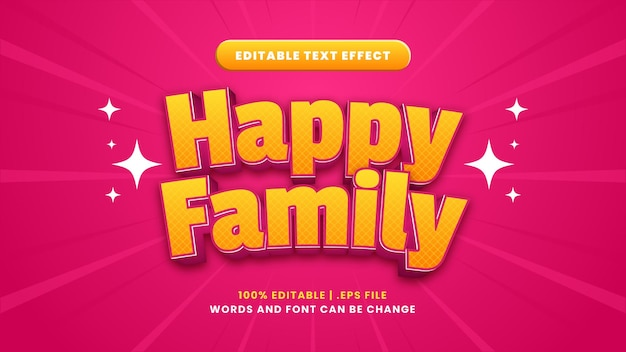 Bearbeitbarer texteffekt der glücklichen familie im modernen 3d-stil