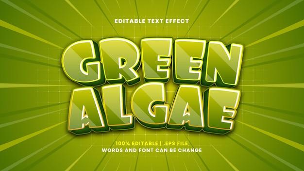 Bearbeitbarer texteffekt der grünalgen im modernen 3d-stil