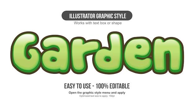 Bearbeitbarer texteffekt der grünen 3d abgerundeten karikatur