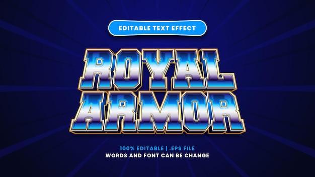 Bearbeitbarer texteffekt der königlichen rüstung im modernen 3d-stil