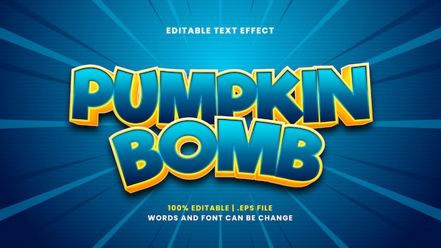 Bearbeitbarer texteffekt der kürbisbombe im modernen 3d-stil