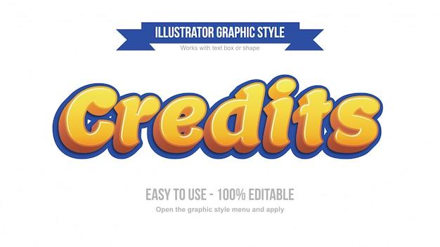 Bearbeitbarer texteffekt der modernen gelben 3d-karikaturanzeige Premium Vektoren