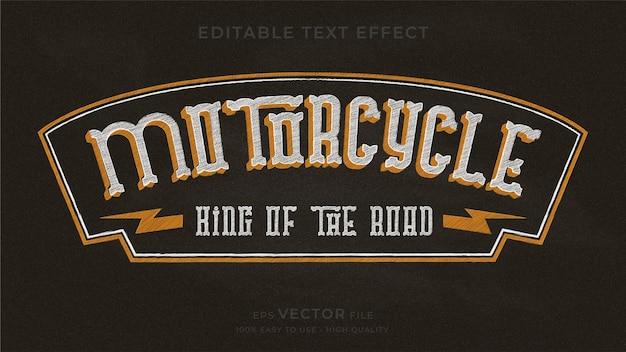 Bearbeitbarer texteffekt der motorrad-typografie-tafel