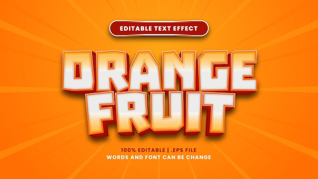 Bearbeitbarer texteffekt der orangenfrucht im modernen 3d-stil