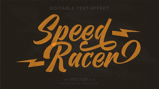 Bearbeitbarer texteffekt der speed racer typografie-tafel