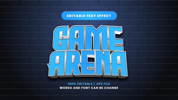 Bearbeitbarer texteffekt der spielarena im modernen 3d-stil