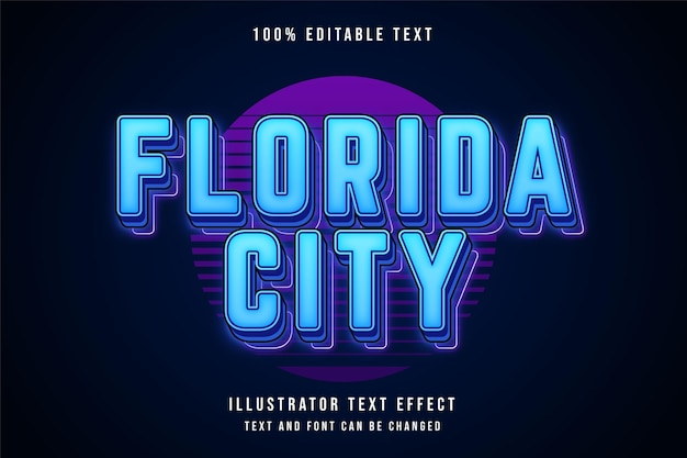 Bearbeitbarer texteffekt der stadt florida mit blauer abstufung