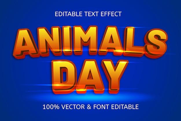 Bearbeitbarer texteffekt der tiertagesartkarikatur