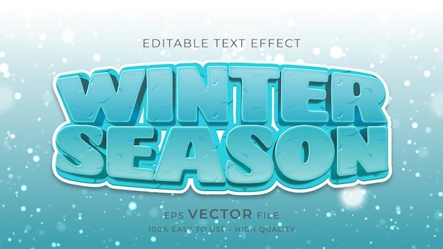 Bearbeitbarer texteffekt der typografie der wintersaison
