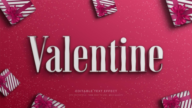 Bearbeitbarer texteffekt der valentine-typografie