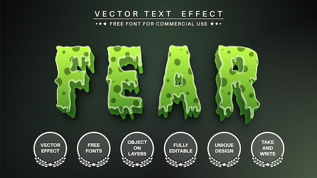 Bearbeitbarer texteffekt des 3d-monsters, schriftstil