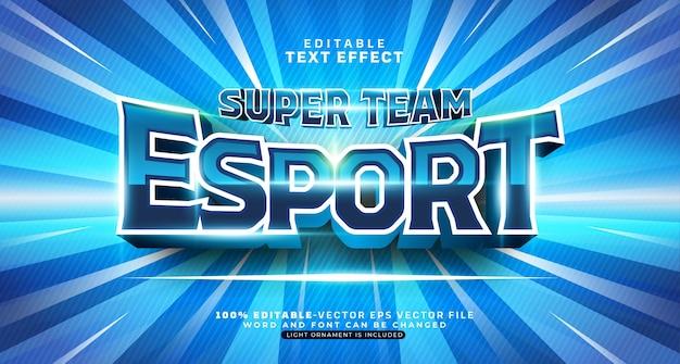 Bearbeitbarer texteffekt des blauen esport-teams