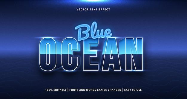 Bearbeitbarer texteffekt des blauen ozeans.