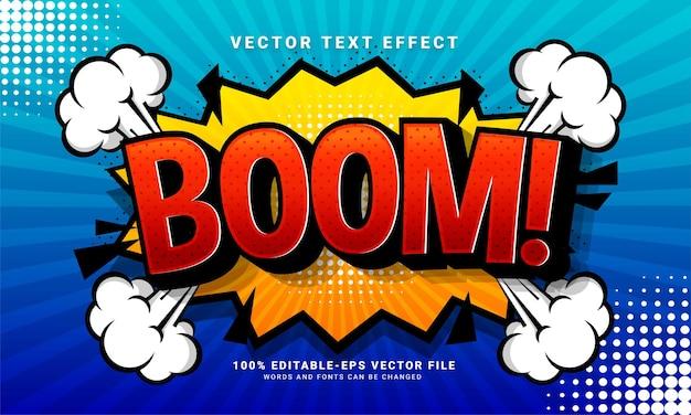 Bearbeitbarer texteffekt des comic-booms, der für das konzept des cartoon-stils geeignet ist
