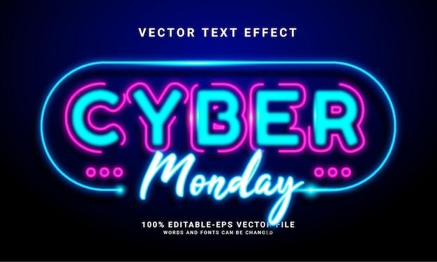 Bearbeitbarer texteffekt des cyber-montag-lichts, der für themen zum thema cyber-montag geeignet ist.
