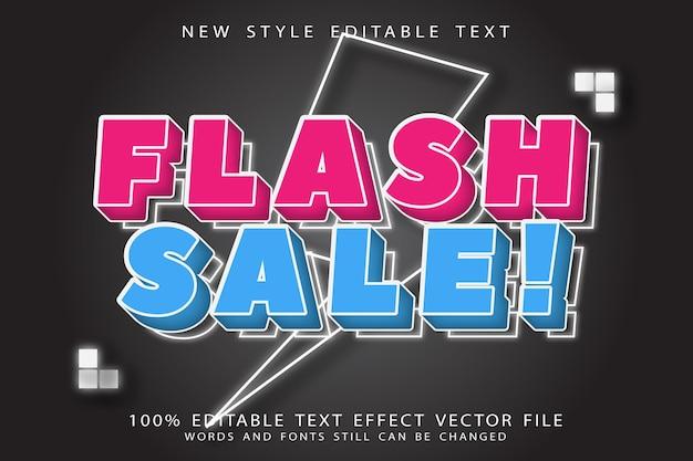 Bearbeitbarer texteffekt des flash-verkaufs prägen neonstil