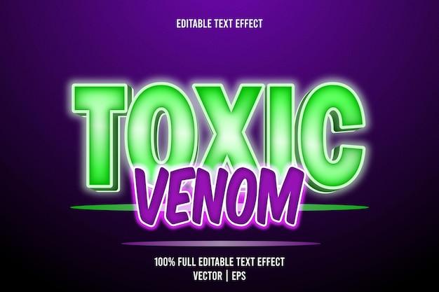 Bearbeitbarer texteffekt des giftigen giftes 3-dimensionale prägung im neonstil