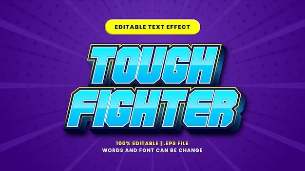 Bearbeitbarer texteffekt des harten kämpfers im modernen 3d-stil