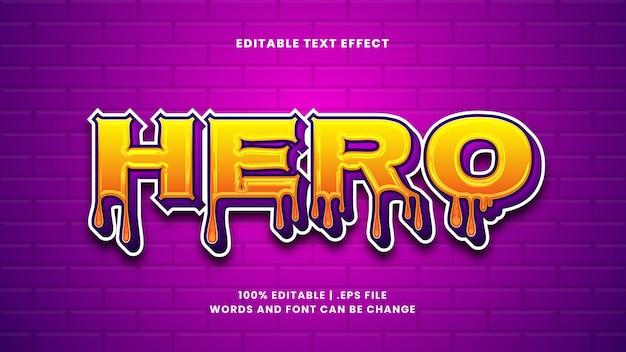 Bearbeitbarer texteffekt des helden im modernen 3d-stil